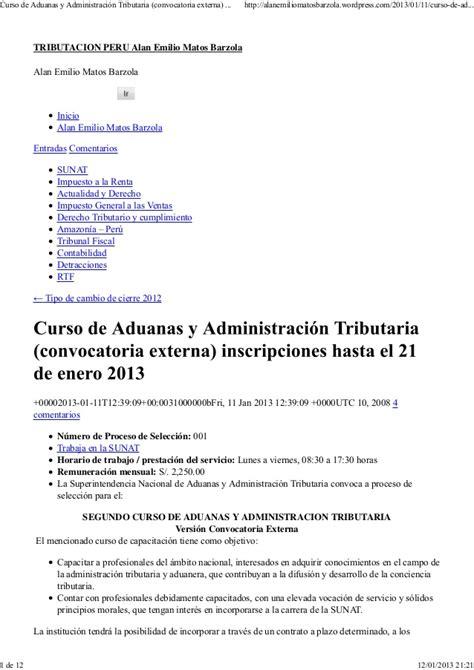 convocatoria hasta el 20 de enero de 2013 para sunat curso de aduanas y administraci 243 n tributaria