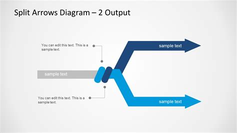 Split Arrows Diagram Template For Powerpoint Slidemodel Arrow Powerpoint Template