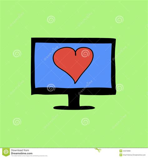 images of virtual love doodle color virtual love sign stock vector image 44276380