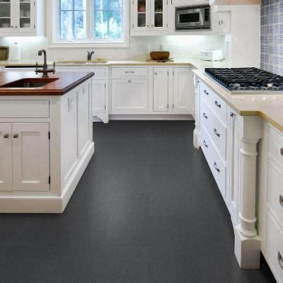 home depot kitchen flooring trafficmaster 12 in x 23 82 in lineal charcoal resilient vinyl tile flooring 19 8 sq ft