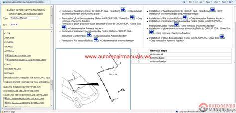 mitsubishi pajero 2013 service manual free auto repair manuals auto repair manuals mitsubishi pajero sport ge 2014 service manual cd