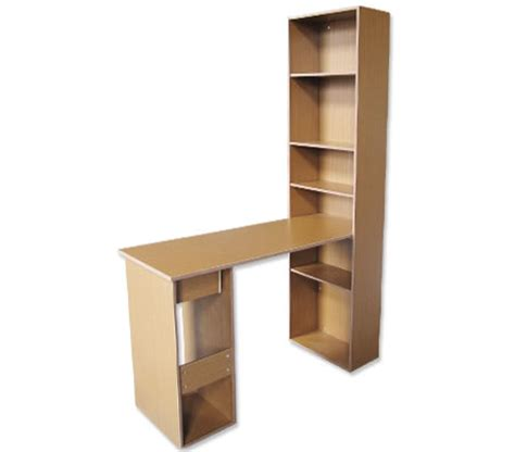 wooden office and study desk with bookshelf tower