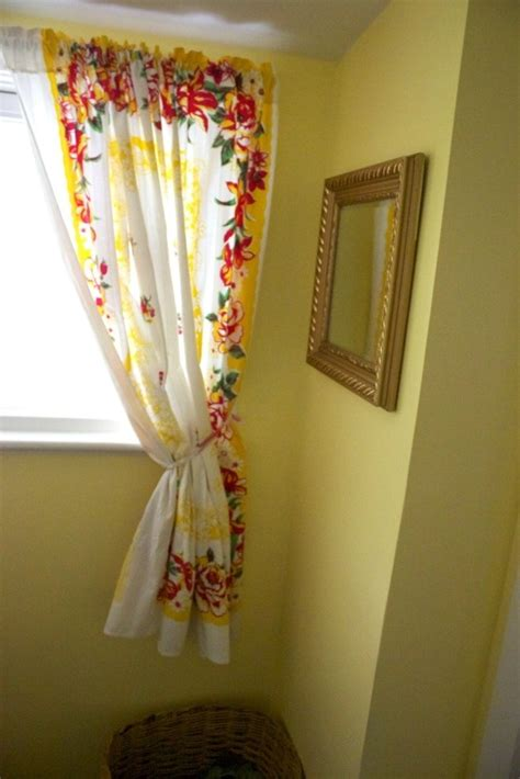 table cloth drapes vintage table cloth turned curtain for the home