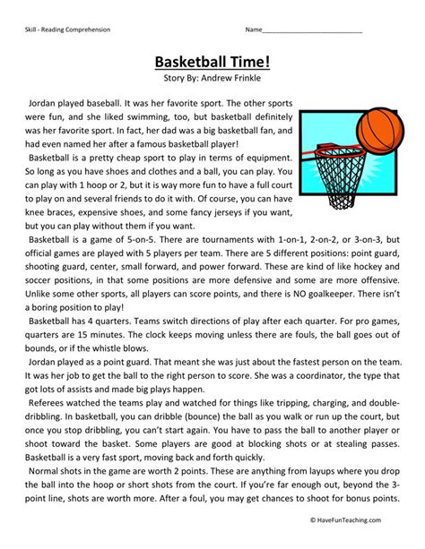 Free Printable 5th Grade Reading Comprehension Worksheets by Reading Comprehension Worksheet Basketball Time