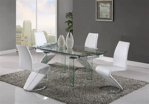 Clear Dining Room Set by D2160 D9002 Series Clear White 5pc Dining Room Set