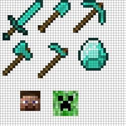 hama bead template printable minecraft tool set perler bead pattern bead sprites