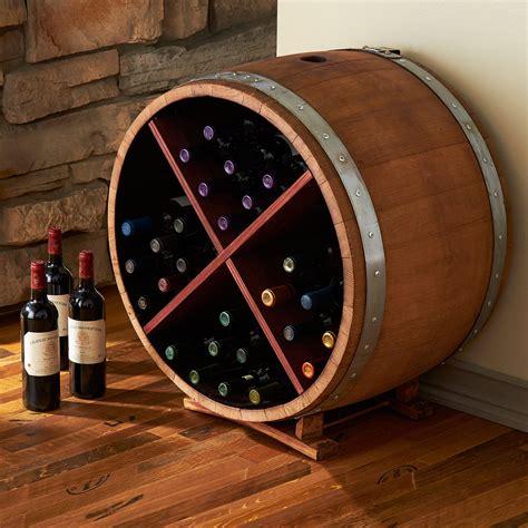 wine barrel storage cabinet reclaimed half barrel wine rack the green
