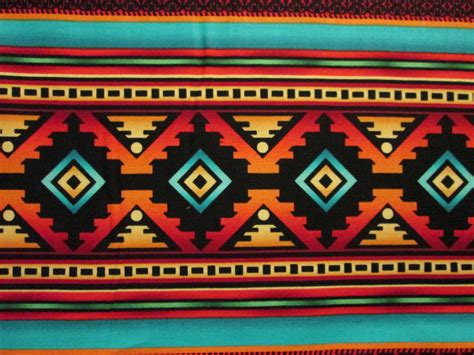 patterned colored of the indian navajo teal border traditional american print
