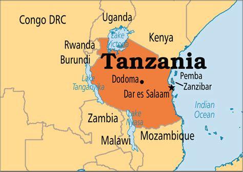 tanzania on the map tanzania operation world
