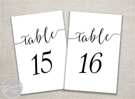 table number card template word black slant table numbers printable calligraphy style