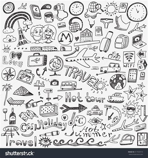 Sketches Doodles by Stock Vector Travel Doodles Sketch Icons 317559713 Jpg