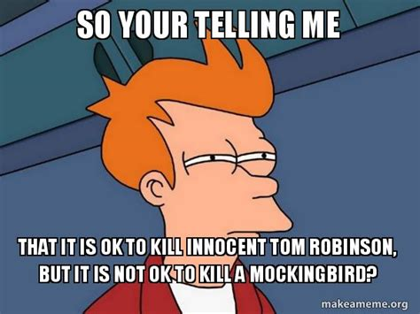 To Kill A Mockingbird Meme - so your telling me that it is ok to kill innocent tom