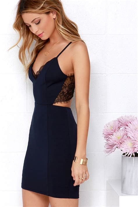 Sexy Navy Blue Lace Dress   Black Lace Dress   Backless