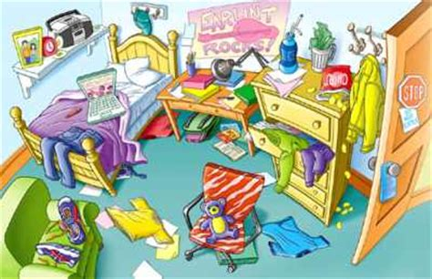 messy bedroom cartoon english exercises prepositions with rooms and furniture