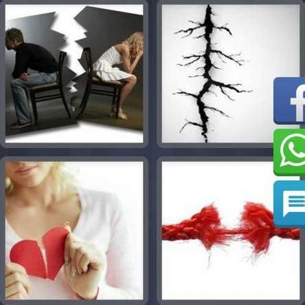 2 imagenes una palabra 4 fotos 1 palabra foto rota corazon roto cuerda rota pared