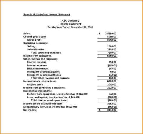 multi step income statement template 13 income statement format bibliography format