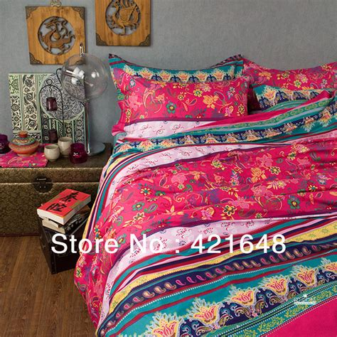 boho king size bedding new beautiful casa 100 cotton 4pc cover set red turquoise