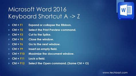 keyboard layout shortcut windows 7 microsoft word 2016 a z popular keyboard shortcuts techbast
