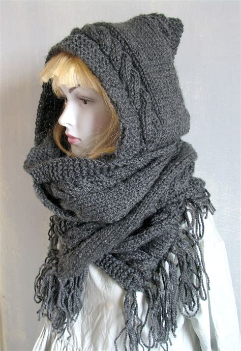 knit snood scarf knit scarf cable neck warmer hoodie snood by