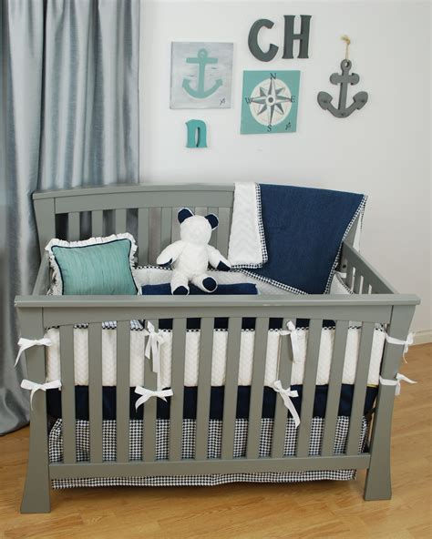 White And Navy Crib Bedding White Crib Bedding With Navy Aqua And Grey Fabrics For A Nautical Theme Nursery White In The