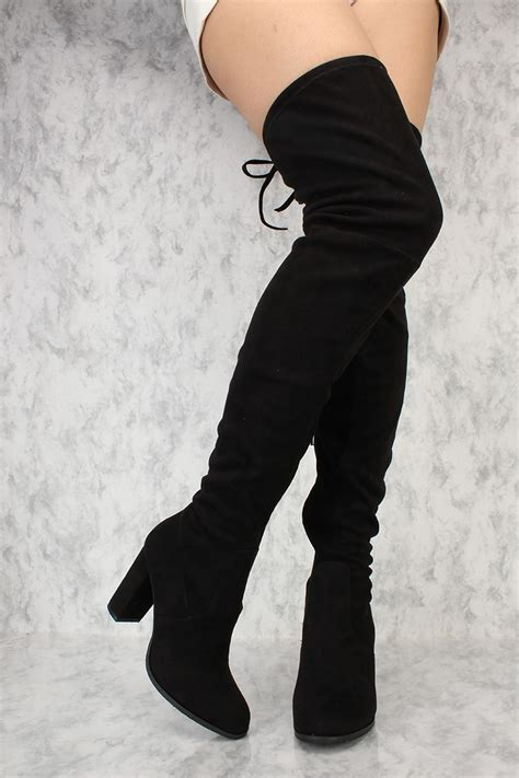 thigh high boots heels black pointy toe thigh high boots single sole chunky