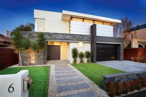 modern home landscaping modern front yard simple lines stepping stone entrance