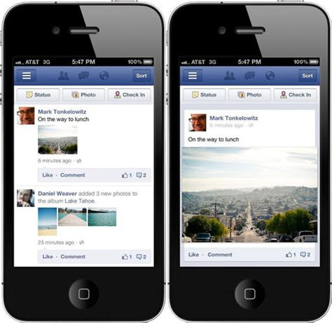 faceb mobile mobile overhaul makes photos more prominent