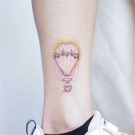 small hot air balloon tattoo air balloon on ankle best ideas gallery