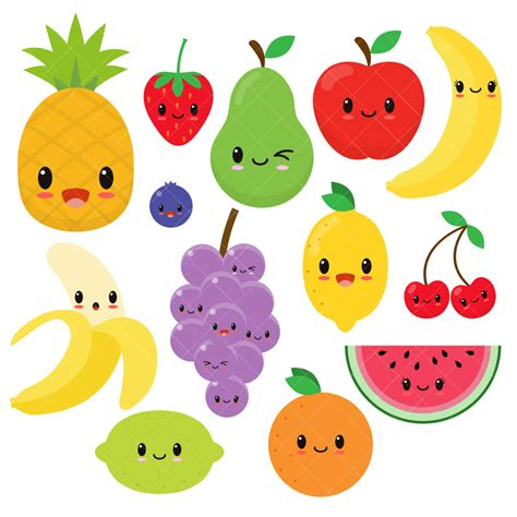 fruit clipart kawaii pencil and in color fruit clipart