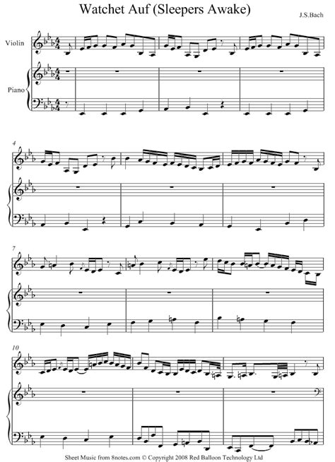 Sleepers Awake Organ by Bach Sleepers Awake Sheet For Violin 8notes