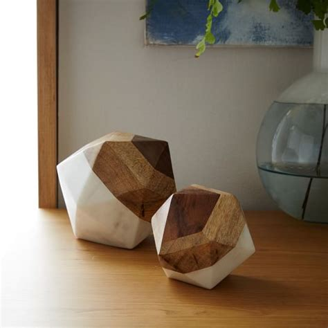 Home Decor Objects | marble wood geometric objects west elm