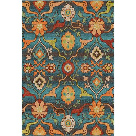 tibetan floral leaf indoor rug 2825 5x8 orian rugs 2825 5x8 bright color floral tibet blue area rug 5 3 quot x 7 6 quot goingrugs