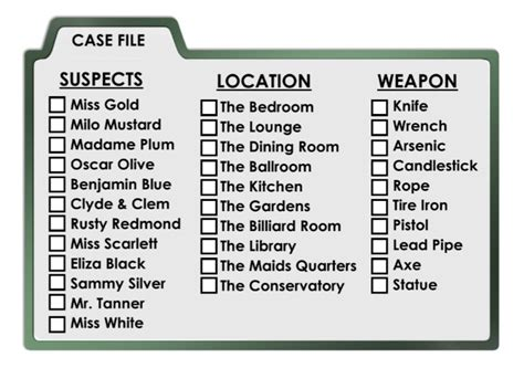 clue suspect card template clued in murder mystery scavenger hunt printable