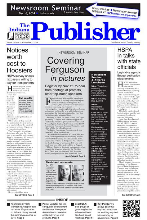 put experience to work for hspa hoosier state press association the indiana publisher november 2014 hoosier state