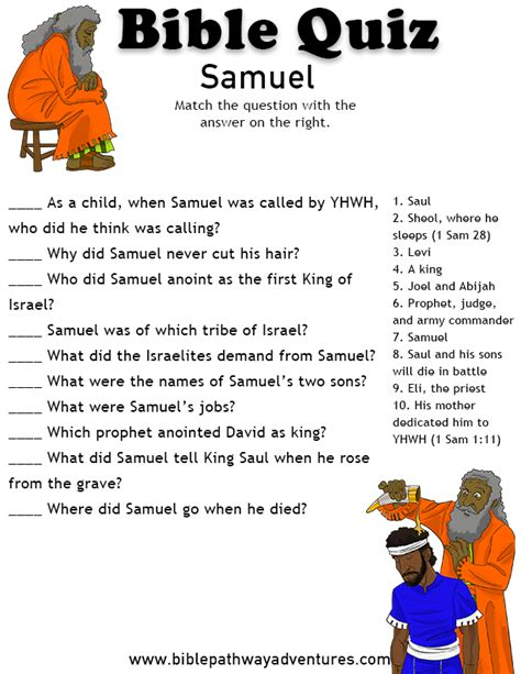 answers to your bible questions books free printable bible quiz the prophet samuel