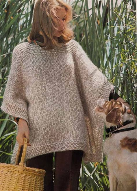 pattern knitting poncho instant download knit poncho e pattern easy quick vintage