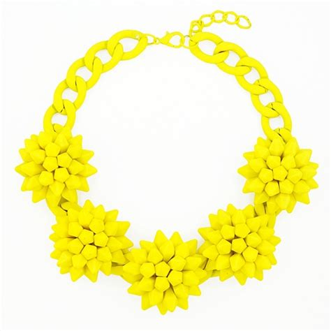 Yellow Neckles spiky blossom bib chunky neon yellow statement necklace