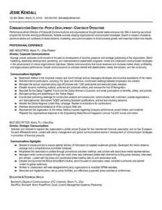Resume Exles For Communications Exle Communications Director Resume Free Sle