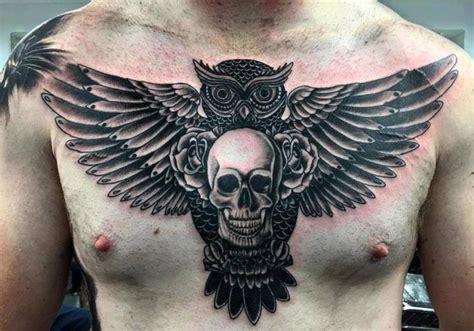 tattoo owl di dada 1000 ide tentang owl skull tattoos di pinterest tato