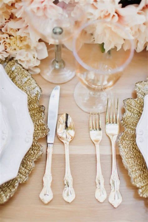 Pink And Gold Table Setting by Gold Wedding Ideas