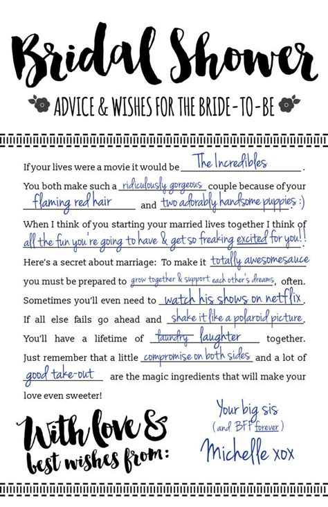 free bridal shower advice card template printable bridal shower advice cards free