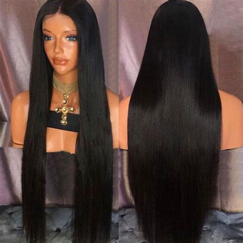 long black hair with part in the middle ultra long middle part straight synthetic wig in natural