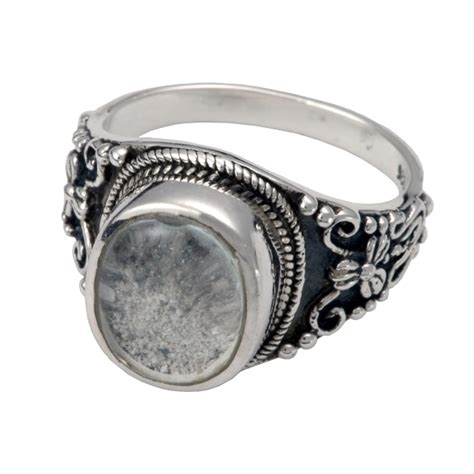 pet cremation jewelry ornate ring with clear glass front