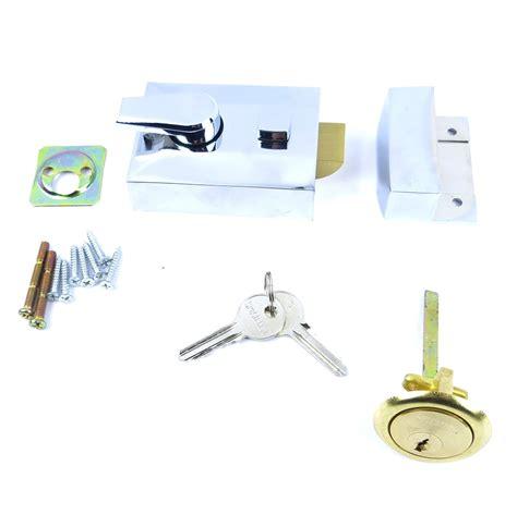 front door deadlocks chrome finish locking nightlatch 60mm front door