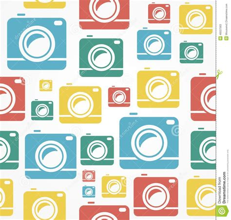 pattern background camera vector flat seamless photo camera pattern stock vector