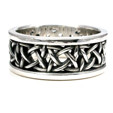 sterling silver square celtic knot wedding ring mens