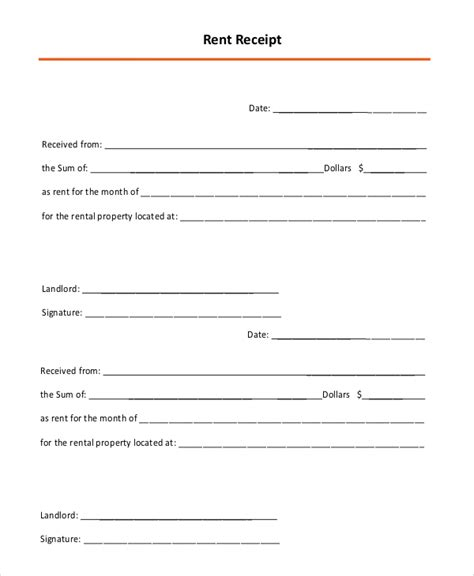monthly rent receipt template 10 rental receipt sles sle templates