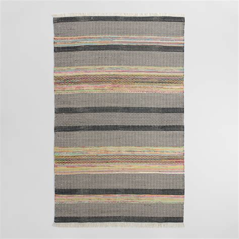 striped cotton area rugs 5 x8 striped cotton chindi nouri area rug world market