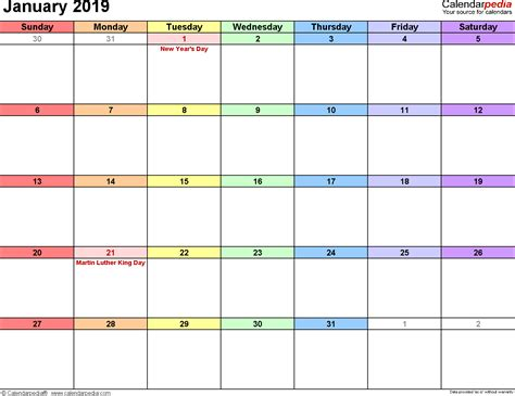 January 2019 Calendar Template Free Printable Calendars 2018 2019 Monthly Calendar Template Excel