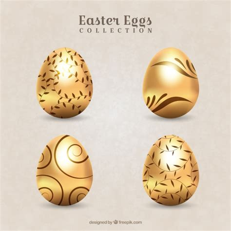 decorative easter eggs pack of decorative golden easter eggs vector free download